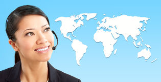 Call Center Operator. Beautiful  call center operator with headset. Over white background Royalty Free Stock Images