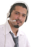Call center operator. Portrait of a young operator of the call center Stock Photo