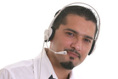 Call center operator. Portrait of a young operator of the call center Stock Images