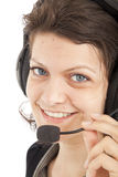 Call center operator. A woman call center operator, with blue eyes Stock Photos