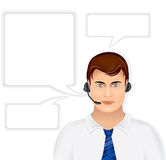 Call Center Operator. Call Center Male Operator with Set of Speech Bubbles, vector illustration isolated on white background Royalty Free Stock Images