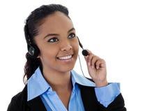 Call center operator. Stock image of female call center operator with copy space Stock Photos