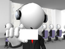 Customer service agent. 3D businessman customer service agent showing his business card Royalty Free Stock Photos