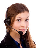 Call center operator. Looking at camera isolated on white background royalty free stock image
