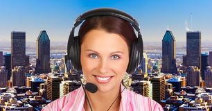 Call Center Operator. Business woman with a  headset. Operator of a call center Stock Photography