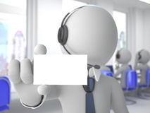 Call center operator with a blank card Stock Image
