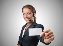 Call center operator with blank message. The call center operator with blank message Royalty Free Stock Photos