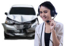 Call center operator with broken car Stock Photos