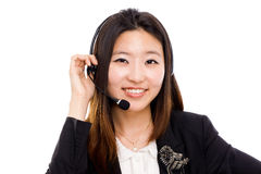 Call center operator business woman. Stock Photo