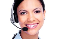 Call center operator business woman. Royalty Free Stock Images