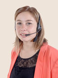 Call center operator business woman. Isolated Royalty Free Stock Image