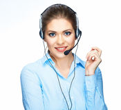 Call center operator consultant talking with micro Stock Images