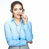Call center operator consultant talking with micro Royalty Free Stock Photos