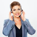 Call center operator. Customer support operator. Woman face.Call center smiling operator with phone headset royalty free stock image