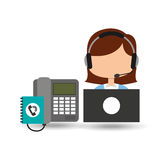 Call center operator girl contacts customers Royalty Free Stock Image