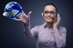 The call center operator in global business concept Stock Photo