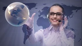 The call center operator in global business concept. Call center operator in global business concept Royalty Free Stock Images