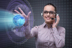 The call center operator in global business concept. Call center operator in global business concept Stock Images