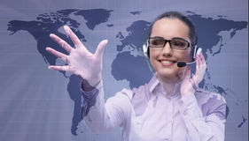 The call center operator in global business concept Royalty Free Stock Photo