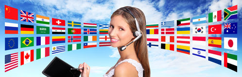 Call center operator global international communications concept. Call center operator global international communications global contact concept Stock Image