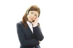 Call center operator having a headache Stock Image