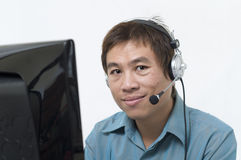 Call center operator with headset Stock Photos