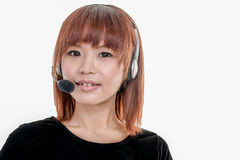 Call center operator with headset Royalty Free Stock Photography
