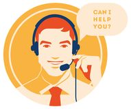 Call center operator with headset icon. Client services and communication, customer support, phone assistance. Call center operator with headset vector retro Stock Photos