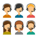 Call Center Operator with Headset Icon Set. Vector Royalty Free Stock Photo