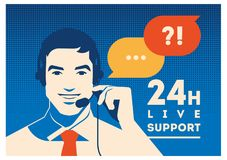 Call center operator with headset poster. Client services and communication, customer support, phone assistance. Call center operator with headset vector retro Royalty Free Stock Photography