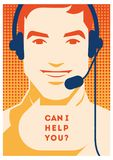 Call center operator with headset poster. Client services and communication, customer support, phone assistance. Call center operator with headset vector retro Stock Photography