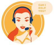 Call center operator with headset icon. Client services and communication, customer support, phone assistance. Call center operator with headset vector retro royalty free illustration