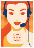 Call center operator with headset poster. Client services and communication, customer support, phone assistance. Call center operator with headset vector retro royalty free illustration