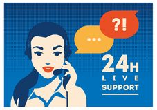 Call center operator with headset poster. Client services and communication, customer support, phone assistance. Call center operator with headset vector retro Royalty Free Stock Images