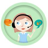Call center operator with headset web icon design. Stock Photography