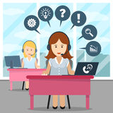 Call center operator. Help and headset, office and communication, contact helpline, assistance or consultant talk, vector illustration Stock Images