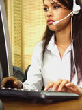 Call center operator I. Call center operator at the office Stock Images