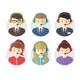 Call center operator icons with a smiling friendly Stock Photos