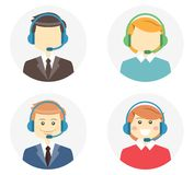 Call center operator icons. With a smiling friendly man and woman wearing headsets and a second variation where they are featureless or faceless on round web Stock Images