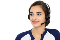 Call center operator isolated over white background. Young Hispanic or latin american women in headset stock images