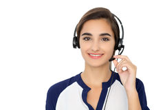 Call center operator isolated over white background. Young Hispanic or latin american women in headset royalty free stock photos