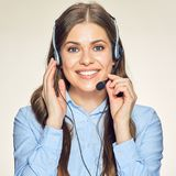 Call center operator isolated portrait with toothy smile. Stock Images
