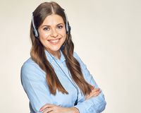 Call center operator isolated portrait with toothy smile. Blue office shirt Royalty Free Stock Photography