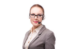The call center operator isolated on white background Stock Photo