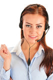 Call center operator isolated on white. Customer support Stock Photo