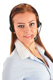 Call center operator isolated on white. Customer support Stock Images