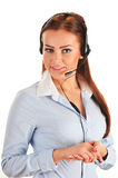 Call center operator isolated on white. Customer support. Helpdesk Royalty Free Stock Images