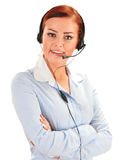 Call center operator isolated on white. Customer support Stock Image