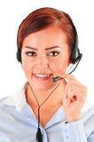 Call center operator isolated on white. Customer support. Helpdesk Stock Photo