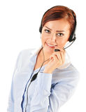 Call center operator isolated on white. Customer support Royalty Free Stock Photography